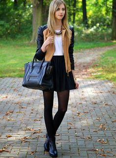 top - H&M / skirt - American Apparel / jacket - Sheinside / tights - H&M / boots - Vagabond / necklace - Zara / watch - Michael Kors. Pantyhose Outfits, In Pantyhose, Nylons, Fall Outfits, Casual Outfits, Cute Outfits, Look Fashion, Fashion Outfits, Womens Fashion