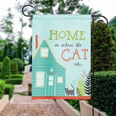 Cat Garden Flag #cat #cats #garden #handmade #gift #present #catloversshopindie #flag #country #yard #welcome