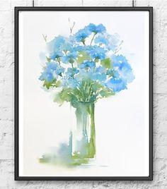 Flower Watercolor Painting Print, Bachelor Button Flower, CornFlower Bouquet, Flower Arrangement Print,Abstract Flower Still Life,Blue Green