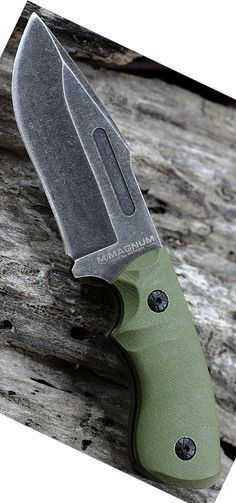 Boker Magnum 02LG113 Lil Giant Fixed Knife Blade with 3 58 in. 440C Stainless Steel Blade, Green