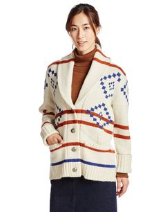 (ミルクフェド)MILKFED. SHAWL COLLAR NATIVE CARDIGAN 03153304 WHITE ONE SIZE : 服&ファッション小物通販 | Amazon.co.jp