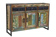 Dreams4Home Sideboard Massivholz 'Mauritius' Vintage Holz Kommode Anrichte