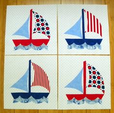 Quilt Block Set Sail Away by MyMaisieDesigns on Etsy Quilt Block Patterns, Pattern Blocks, Quilt Blocks, Map Quilt, Quilt Top, Ocean Quilt, Braid Quilt, Nautical Quilt, Fabric Cards