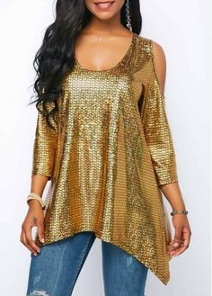 Three Quarter Sleeve Asymmetric Hem Metallic Blouse Women Clothes For Cheap, Collections, Styles Perfectly Fit You, Never Miss It! Stylish Tops For Girls, Trendy Tops For Women, Blouses For Women, Metallic Blouses, Red Blouses, Formal Blouses, Mode Outfits, Fashion Outfits, Black Lace Blouse