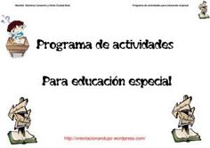 Programa de actividades para educación especial: Actualización