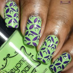 Purple & Green - Stamping Saturdays by Glamorousnail from Nail Art Gallery Silver French Manicure, French Tip Nails, Fingernail Designs, Nail Art Designs, Swag Nails, Fun Nails, Snowflake Nails, Stamping Nail Art, Types Of Nails