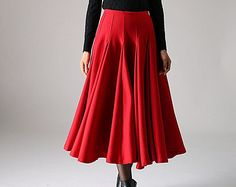 Items similar to Baggy Wool Skirt Emerald Green Skirts Spring ...