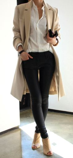 tan coat, white button down, skinny jeans & open toe boots #style #fashion #workwear