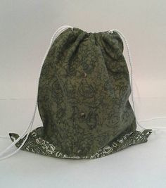 Green Tribal Print Upcycled Drawstring Backpack by debupcycles