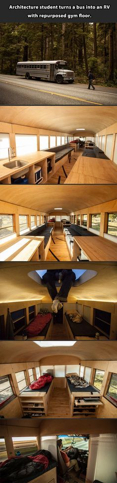 My dad did this with a school bus but turned it into a camping Rv. With swivel chairs up front, a Mercedes benz drivers seat and cabinets, futon beds and a toilet. Best Rv ever!!