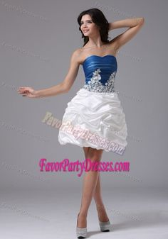 6f7efb404e9 Blue and White Sweetheart Mini-length Prom Party Dresses with Pick-ups Blue  And