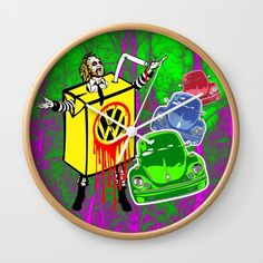 Design your everyday with wall clocks you'll love. Add a unique timepiece to your home featuring art and trending designs from independent artists. Beetle Juice, Vw, Pop Art, Horror, Movie, Cars, Wall Clocks, Halloween, Artist
