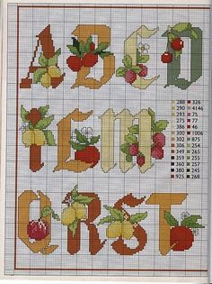 Punto de Cruz GRATIS: Abecedario de las Frutas