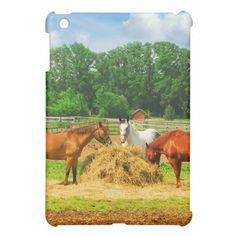 Horses Eating in Farm iPad Mini Case. Cute Ipad Cases, Ipad Mini Cases, Horses, Painting, Animals, Animales, Animaux, Painting Art, Horse