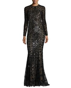 Long-Sleeve+Illusion+Leopard-Sequined+Gown,+Black+by+Zuhair+Murad+at+Neiman+Marcus.