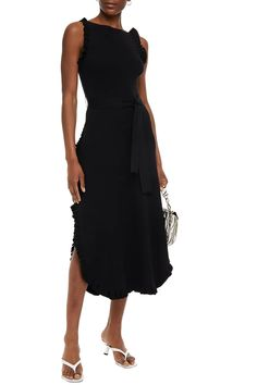 Black Ruffle-trimmed stretch-knit midi dress | Sale up to 70% off | THE OUTNET | SEE BY CHLOÉ | THE OUTNET Beach Wear Dresses, Dresses For Work, Formal Dresses, Coat Dress, Jacket Dress, Dress Outfits, Fashion Dresses, Chloe Clothing, Midi Dress Sale