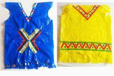 disfraz de indio hecho con bolsas