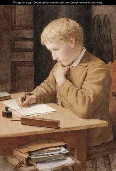 """""""Boy Writing"""". Albert Anker (1831-1910), Swiss Genre Painter."""
