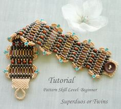 Beading tutorial - beadweaving pattern for superduo or twin seed bead beaded jewelry beaded bracelet instructions - beadwork BRONZE GATES by PeyoteBeadArt on Etsy https://www.etsy.com/listing/198199057/beading-tutorial-beadweaving-pattern-for