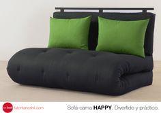 HAPPY. ¡Divertido y práctico! Integrado por una fina estructura de metal que permite acomodar tu futón en distintas modalidades como sofá o cama con un sencillo mecanismo.  Elige el futón (colchón) que más te agrade, decóralo con cualquiera de nuestros diferentes diseños de respaldos y cojines y diviértete. futontanoshii.com  #futon #sofa #cama #happy #práctico #love #futontanoshii