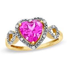 8.0mm Heart-Shaped Pink Topaz and Diamond Accent Heart Frame Ring in 10K Gold - View All Rings - Zales