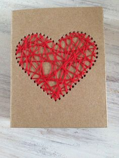 Kraft Matchbox Notebook with Red Embroidered Heart by Marinabooks
