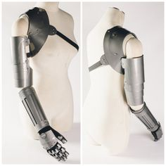 Arm is made of 1/8 thick PVC and comes in three sections: Glove, Forearm and Bicep. Lightweight and comfortable to wear, perfect for wearing to conventions. Add Ons: Chest Piece: Includes full arm as well as chest armor shown in 1st picture. Blade: Includes full arm as well as the blade piece in the 4th picture. Custom sizes and colors available upon request.
