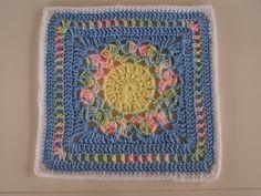 Flower Burst 12-inch square, free pattern by Chris Simon.  Pic from Ravelry Project Gallery.    . . . .   ღTrish W ~ http://www.pinterest.com/trishw/  . . . .   #crochet #motif