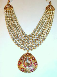Indian #Jewelry ~ Stunning #Kundan, Gold & Rubies #Necklace ~