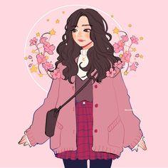 51 Ideas Flowers Girl Illustration Character Design For 2019 Art And Illustration, Girl Illustrations, Arte Do Kawaii, Art Kawaii, Art Anime Fille, Anime Art Girl, Cartoon Kunst, Cartoon Cartoon, Arte Copic