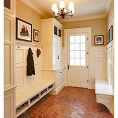 Mud Room with built ins for plenty of storage and a bench with shoe shelf.