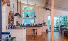 Reclaimed Heart Pine Flooring & Beams with Select Southern Yellow Pine Tongue & Groove Kitchen