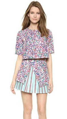 SUNO godet crop top and burst pleat miniskirt