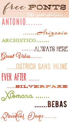 Download Free Fonts - The Girl Creative  ~~ {11 free fonts w/ links}