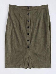 #Zaful - #Zaful Button Up Faux Suede Slit Pencil Skirt - AdoreWe.com
