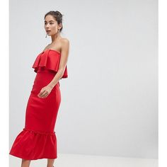 True Violet Bandeau Frill Midi Dress With Pephem (2 780 UAH) ❤ liked on Polyvore featuring dresses, red, floral bodycon dresses, red midi dress, floral dresses, floral cocktail dresses and floral bodycon dress #bodycondresshomecoming #bodycondresscasual