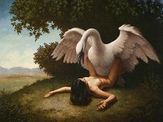 Steven Kenny - Leda and the Swan. Tags: leda daughter of thestius, thestios, wife of tyndareus, tyndareos, zeus disguised as a swan, jupiter