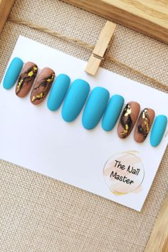 Now on SALE! Available in various shapes at TheNailMaster.etsy.com. #pressonnails Blue Matte Nails, Gold Nails, Stick On Nails, Glue On Nails, Best Press On Nails, Blue Press, Artificial Nails, Nail File, Beige Color