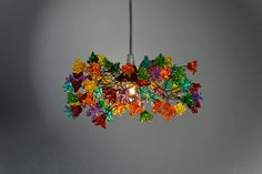 multi color jumping  flowers  hanging chandelier by yehudalight, $129.00