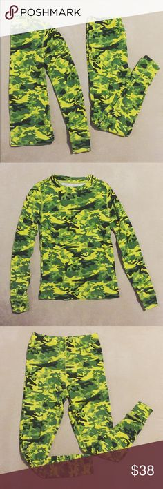 Boys L.L. Bean Camo Long John Set Ski Pajamas In like new condition. Boys long john set by L.L. Bean. Greens and yellow camo print. Can be worn under ski outfit, snow days, or as comfy pajamas. Size 8 in boys. 100% Cotton. L.L. Bean Matching Sets