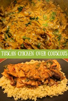 Tuscan Chicken over Couscous If you haven't tried couscous, this recipe is a great introduction. This would make for a wonderful dinner party meal. Tuscan recipe, chicken recipe, easy recipe, couscous recipe, budget recipe, gluten free recipe, popular, pins.