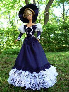 Mimin Dolls: Barbie- vestido primaveril azul com renda