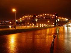 "International Bridge between the ""Twin Soo's. Between Sault Ste. Marie, Michigan and Sault Ste. Marie, Canada."