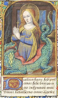 Margaret of Antioch emerging from dragon | Book of Hours | France, Avignon | approximately 1485-1490 | The Morgan Library & Museum