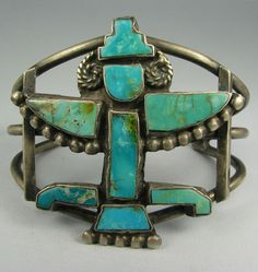 Old Wide Pueblo Turquoise Knifewing Bracelet | eBay