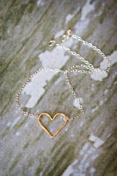Hammered Heart Ankle Bracelet Gold Filled by SimplySweetStudio