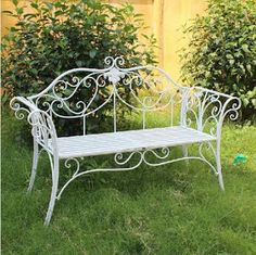 Antique White Hot Sale Folding White Wrought Iron Garden Bench Pictures Photos Hebei Mingda International Trading Co Ltd China Hot Sale Folding White Wrought Iron Garden Bench China Wrought Iron Garden Furniture, Wrought Iron Bench, Iron Patio Furniture, Iron Balcony, Outdoor Chairs, Outdoor Decor, Garden Seating, Metal Chairs, Home Decor