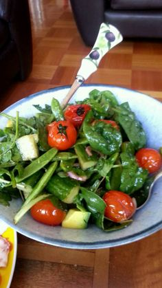 Watercress, basil, blistered tomatoes, avocado, cucumber and sugar snap salad with a honey balsamic dressing