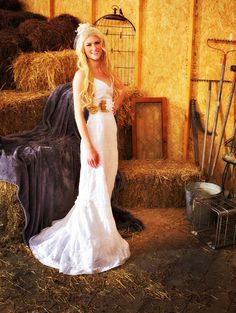 Miss Lucinda's Rustic Wedding Dress ~ Long cotton eyelet wedding gown ~ flowers on a burlap sash ~ train of various eyelet tiers ~ pockets Rustic Wedding Dresses, Long Wedding Dresses, Wedding Gowns, Formal Dresses, Sash, Marie, Wedding Inspiration, Trending Outfits, Dress Long