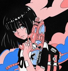 Ilustrações estilo 'anime aesthetic' de Ana Aleksov Anime emerged when Japanese filmmakers discovered and began to make the most of … Cartoon Kunst, Cartoon Art, Aesthetic Art, Aesthetic Anime, Aesthetic Vintage, Aesthetic Clothes, Anime Art Girl, Manga Art, Anime Style
